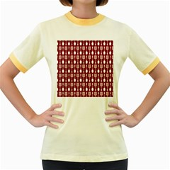 Red And White Kitchen Utensils Pattern Women s Fitted Ringer T Shirts