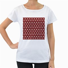 Red And White Kitchen Utensils Pattern Women s Loose-Fit T-Shirt (White)