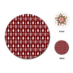 Red And White Kitchen Utensils Pattern Playing Cards (Round)