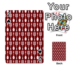 Red And White Kitchen Utensils Pattern Playing Cards 54 Designs