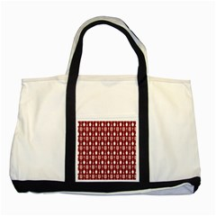 Red And White Kitchen Utensils Pattern Two Tone Tote Bag