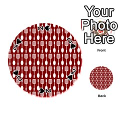 Red And White Kitchen Utensils Pattern Playing Cards 54 (round)