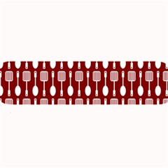 Red And White Kitchen Utensils Pattern Large Bar Mats