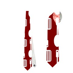Red And White Kitchen Utensils Pattern Neckties (two Side)