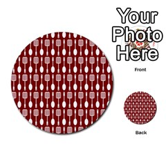 Red And White Kitchen Utensils Pattern Multi-purpose Cards (Round)