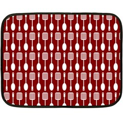 Red And White Kitchen Utensils Pattern Fleece Blanket (mini)