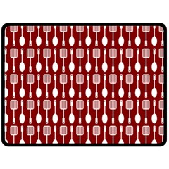 Red And White Kitchen Utensils Pattern Fleece Blanket (Large)