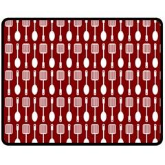 Red And White Kitchen Utensils Pattern Fleece Blanket (Medium)