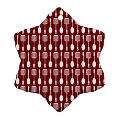 Red And White Kitchen Utensils Pattern Snowflake Ornament (2-Side)