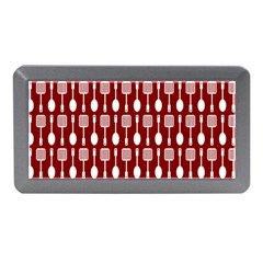 Red And White Kitchen Utensils Pattern Memory Card Reader (Mini)