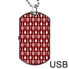 Red And White Kitchen Utensils Pattern Dog Tag USB Flash (Two Sides)