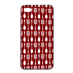 Red And White Kitchen Utensils Pattern Apple iPhone 4/4s Seamless Case (Black)