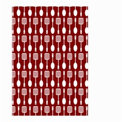 Red And White Kitchen Utensils Pattern Small Garden Flag (two Sides)
