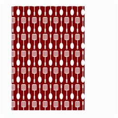 Red And White Kitchen Utensils Pattern Large Garden Flag (Two Sides)