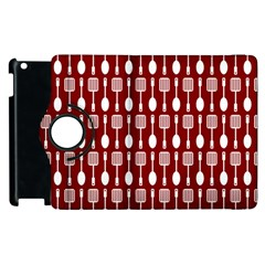Red And White Kitchen Utensils Pattern Apple Ipad 2 Flip 360 Case