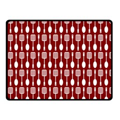 Red And White Kitchen Utensils Pattern Double Sided Fleece Blanket (Small)