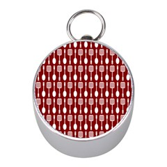 Red And White Kitchen Utensils Pattern Mini Silver Compasses