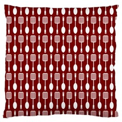 Red And White Kitchen Utensils Pattern Large Flano Cushion Cases (One Side)