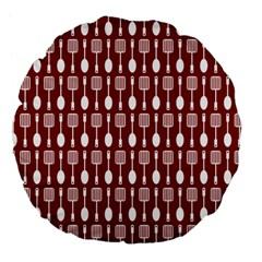 Red And White Kitchen Utensils Pattern Large 18  Premium Flano Round Cushions