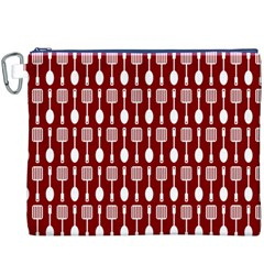 Red And White Kitchen Utensils Pattern Canvas Cosmetic Bag (XXXL)