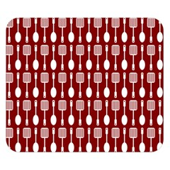 Red And White Kitchen Utensils Pattern Double Sided Flano Blanket (Small)
