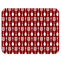Red And White Kitchen Utensils Pattern Double Sided Flano Blanket (medium)