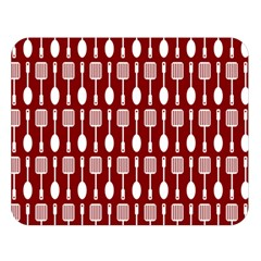 Red And White Kitchen Utensils Pattern Double Sided Flano Blanket (Large)