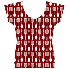 Red And White Kitchen Utensils Pattern Women s V-Neck Cap Sleeve Top
