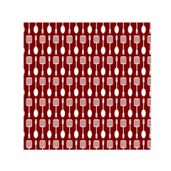 Red And White Kitchen Utensils Pattern Small Satin Scarf (Square)