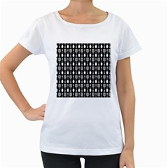 Black And White Spatula Spoon Pattern Women s Loose-Fit T-Shirt (White)
