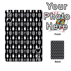 Black And White Spatula Spoon Pattern Playing Cards 54 Designs