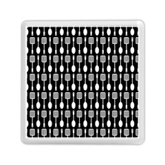 Black And White Spatula Spoon Pattern Memory Card Reader (square)