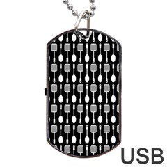 Black And White Spatula Spoon Pattern Dog Tag Usb Flash (one Side)