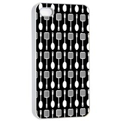 Black And White Spatula Spoon Pattern Apple iPhone 4/4s Seamless Case (White)