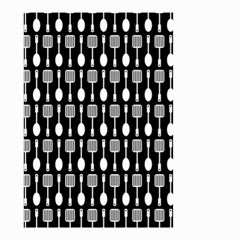 Black And White Spatula Spoon Pattern Small Garden Flag (Two Sides)