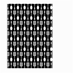 Black And White Spatula Spoon Pattern Large Garden Flag (two Sides)
