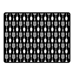 Black And White Spatula Spoon Pattern Double Sided Fleece Blanket (Small)
