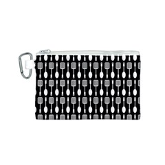 Black And White Spatula Spoon Pattern Canvas Cosmetic Bag (s)
