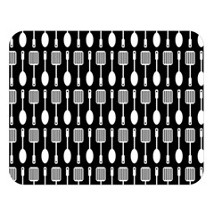 Black And White Spatula Spoon Pattern Double Sided Flano Blanket (Large)