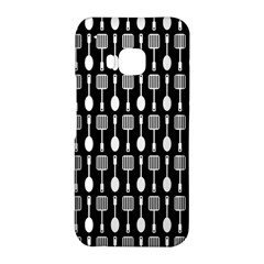 Black And White Spatula Spoon Pattern HTC One M9 Hardshell Case