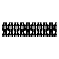 Black And White Spatula Spoon Pattern Satin Scarf (Oblong)