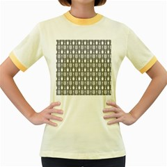 Gray And White Kitchen Utensils Pattern Women s Fitted Ringer T-Shirts