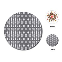 Gray And White Kitchen Utensils Pattern Playing Cards (Round)