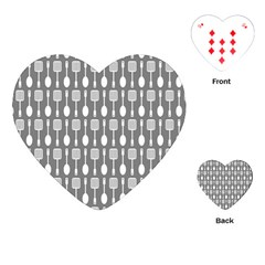 Gray And White Kitchen Utensils Pattern Playing Cards (heart)