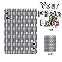 Gray And White Kitchen Utensils Pattern Playing Cards 54 Designs