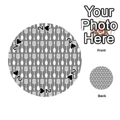Gray And White Kitchen Utensils Pattern Playing Cards 54 (round)