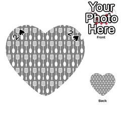 Gray And White Kitchen Utensils Pattern Playing Cards 54 (heart)