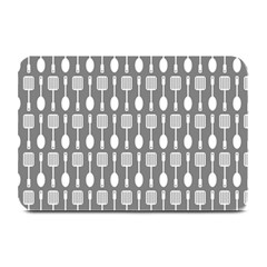 Gray And White Kitchen Utensils Pattern Plate Mats