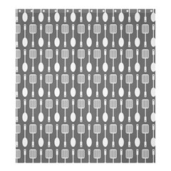 Gray And White Kitchen Utensils Pattern Shower Curtain 66  x 72  (Large)