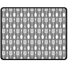 Gray And White Kitchen Utensils Pattern Fleece Blanket (medium)